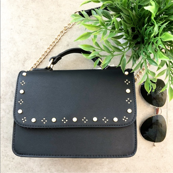 Black Crossbody with Pearls and Gold Studs ef03b3bf555c3